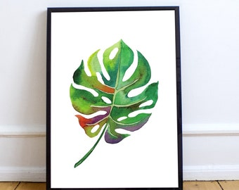 Stunning modern vintage monstera leaf botanical print download printable art