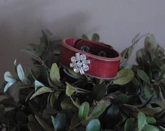 OOAK Leather Cuff Bracelet with Vintage Rhinestone Embellishment, Vintage Czech Rhinestone Cuff, Repuposed, Upcycled, Womens Leather
