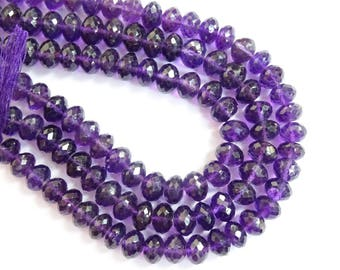 Amethyst Faceted Rondelles, African Amethyst Faceted  Rondelles, Amethyst Rondelle Beads, African Amethyst Beads