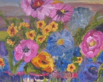 Original Art - Original Floral Painting - Impressionist art -  20 x 20 inches Kate Ladd
