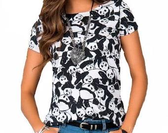 Women's fashion polyester cotton patterned panda T-shirt