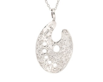 925 Sterling Silver Scroll Painter's Pallet Pendant w/ Cable Chain