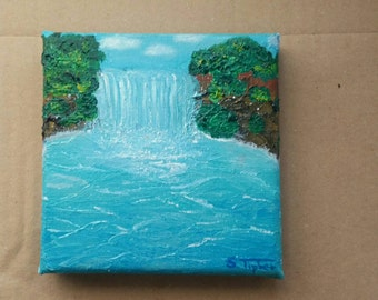 "Original mini oil painting ""tropical beauty"" 10 x 10 cm waterfall in the nature of a tropical waters"
