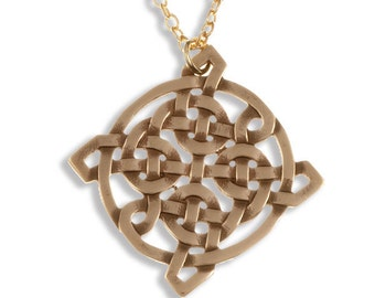 Interlacing square knot pendant – bronze –Hand Made in UK