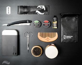 Beard Grooming Kit, Beard Brush, Beard Bag, Beard Care, Fathers Day Gift, Essential Oil, Beard Razor, Beard Comb, Hessian Bag, Shaving Brush