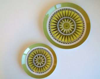 Pair of Vintage Serving Plates - Mikasa Duplex by Ben Siebel . Carnival #2512 Design