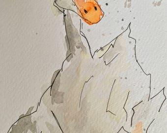 Watercolour Goose art, original not print,bird art, 12cm x 21cm