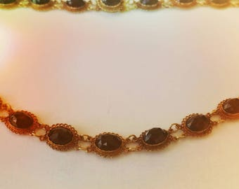 14k Victorian  garnet chocker | Anna Wintour collet necklace