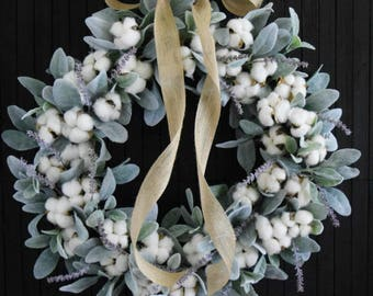 Farmhouse Cotton and Lamb's Ear Front Door Wreath
