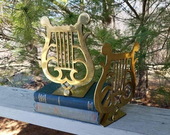Brass Musical Lyre Harp Bookends Mid Century Home Decor