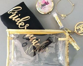 Cosmetic Bag - Gold Make up Bag - Makeup Bag - Personalized Cosmetic Bag - Bridesmaid Gift - Maid of Honor Gift - Matron of Honor  EB3167