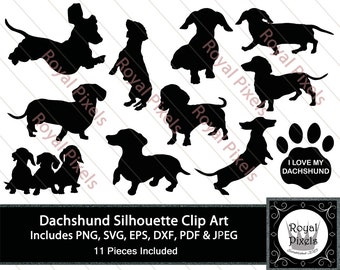 Dachshund Silhouette Clip Art Set, 11 Piece - Pet Dog Silhouette, Dog Clip Art, Pet Clip Art 7 inches, Instant Download, Printable