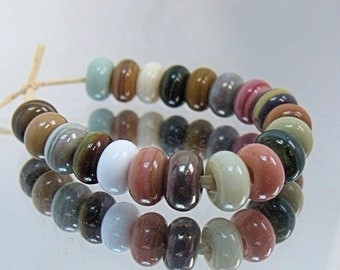 Natural Mix, Lampwork Spacer Beads, SRA, UK