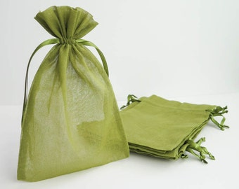 "Cotton Muslin Bags - Moss Green | Large Drawstring Muslin Pouches, Gift Bags, Favor Bags for Weddings (6""x9"")"