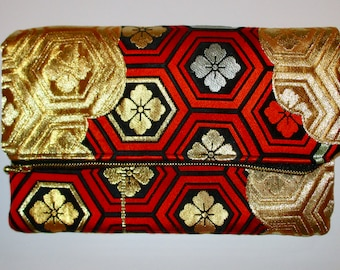 Red Hexagons with Gold Clouds Two-way Fold Over Obi Silk Clutch Purse