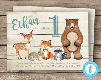 Woodland Boy Invitation, Woodland Invitation, Woodland Creatures, Editable Digital Invitation, Instant Download, Printable, Woodland Animals