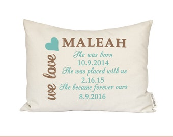 Customized birth announcement pillow new mom gift new adoption pillow baby announcement adopted baby shower gift personalized baby pillow first negle Images