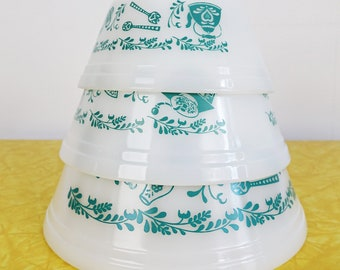 Vintage FEDERAL Glass Mixing Bowls Set - Teal Homestead Kitchen Utensil Pattern - Turquoise Milk Glass Nesting Bowls