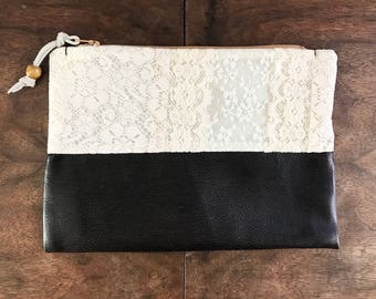 Upcycled Ivory Lace and Mocha Vegan Leather Zipper Pouch