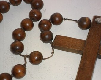 Vintage very large rosary wood 50s