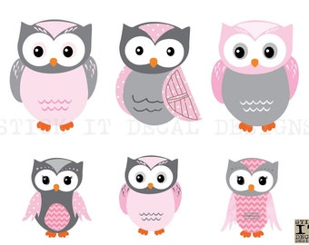 Owl Decal, Owl Wall Decal, Owl stickers, Nursery Wall Decal, Owl sticker, Shades of Pink Design