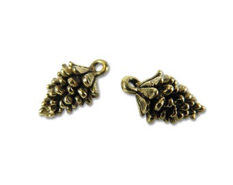 Antiqued Gold Plated Pinecone Charms - (2x) (V156)
