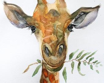 Giraffe watercolor original, Giraffe art original, original Giraffe watercolor, Animal watercolor, gift for her, wall art, art OOAK