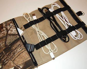 Cord Organizer, Cable Organizer, Gift for Him, Camo Cord Bag, Travel Bag, Black Cord Organizer, Groomsmen Gift, Travel Cord Bag, Guys Gift