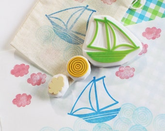 sailing boat rubber stamp set | yacht wave cloud | diy summer birthday scrapbooking | gift for boys | hand carved by talktothesun | set of 3
