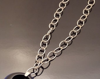 Vintage Lucite Pendant on Sterling Silver Chain