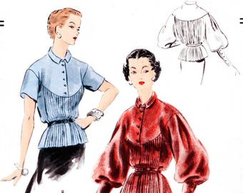1950s 50s pleated blouse pattern reproduction // lantern sleeves short sleeves // // Bust 32