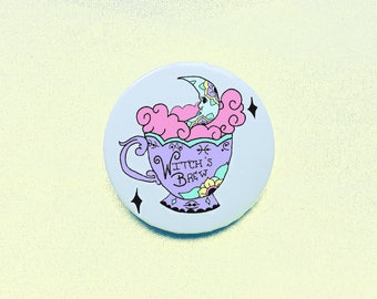 """Witch's Brew Tea Cup 2"""" Button / Pin / Mirror / Keychain"""