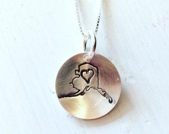 Stamped Silver Alaska Love Heart Necklace
