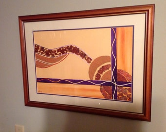 "Gold and bronze abstract, ""The Path"", by Sharon James, 13.5""x20"""