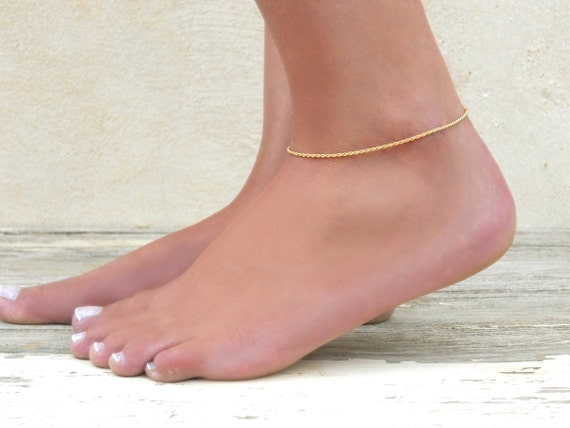 dainty rose gold anklet pin bracelet pendant simple