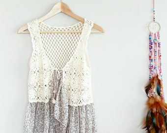 Shabby Chic BOHO Floral Crochet Vest~ Bohemian Style~ Grunge Chic~ Gift For her~ Hippie Vest~ 1970's Inspired Fashion~ Vintage Top~ Gypsy