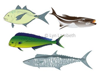 Ocean Fish Instant Download Fishing Clipart Trevally Cobia Mahi Spanish Mackerel King Kingfish Clip Art