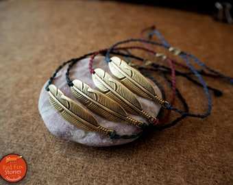 Boho bracelet with a brass leaf, native bracelet, macrame bracelet, leaves bracelet, hippie bracelet, festival bracelet, boho jewelry, yoga