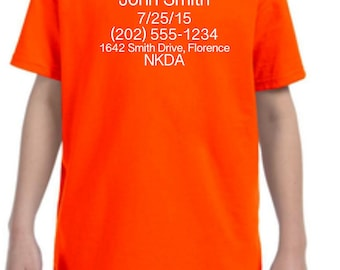 Emergency Contact Shirt | Tornado Shirt | Contact Information Shirt | Safety Shirt | Please Return to |  t-shirts