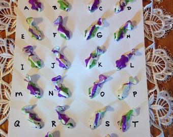OOAK Miniature Colorful Koi Fish, Purple Green and White Miniature Koi, Fairy Pond Koi Fish, Terrarium Koi Fish, Diorama, Hand Made