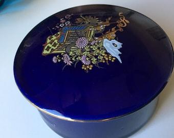 Cobalt Blue Porcelain Trinket Box with Asian Motif