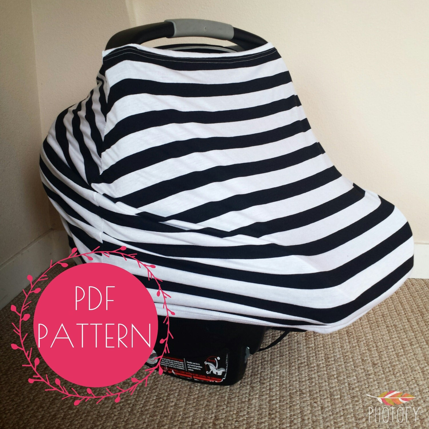 Car Seat Cover Nursing Cover Sewing Pattern, DIY Stretchy Baby Car