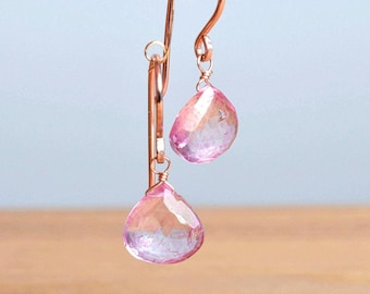 Pink Topaz Earrings, Topaz Dangle Earrings, November Birthstone Gemstone Earrings/ 14K Rose Gold Filled Sterling Silver, Gift for Daughter