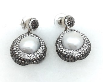 Round Blister Pearl and Swarovski Crystal Earrings