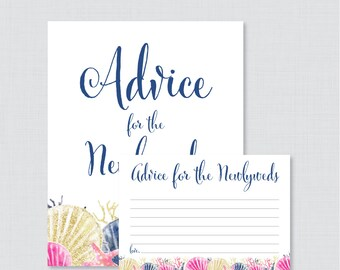 Advice for the Newlyweds Bridal Shower Activity - Printable Beach Themed Bridal Shower Advice Cards and Sign - Pink and Navy Bridal 0012-P