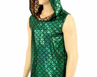 Mens Sleeveless Green Dragon Scale Hoodie with Gold Dragon Scale Hood Liner & Spikes Rave Festival Clubwear EDM Party Animal -154017