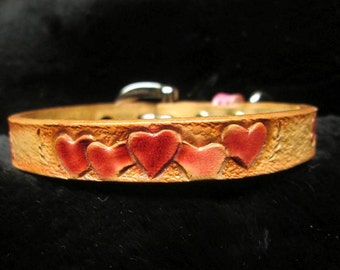 Small leather dog collar, handmade collars, Chihuahua collar, Teacup collar, Toy Poodle collar, Yorkie collar