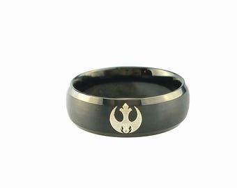 Star Wars Ring, Star Wars Rebel Jedi Tungsten Ring, Tungsten Wedding Band, Wedding Ring, Anniversary Ring, Engraved Wedding Ring