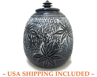 Dryden Pottery Lidded Jar OOAK Sgrafitto Original Signed Roark 86