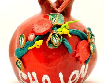 Shalom Red Pomegranate Hands Made Art Ceramic